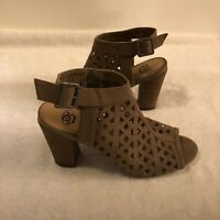 SM New York Womens Shoes Strappy Open Weave Peep Toe Block Heel Taupe Size 8.5M