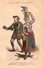 PARIS COSTUMES LAITIERE MARCHAND VIEUX HABITS MILKGIRL GRAVURE 1878 ENGRAVING