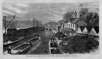 COAL DEPOT AT RONDOUT NEW YORK ON HUDSON RIVER 1867 CANAL BOATS HAULING COAL