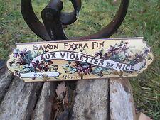 ACCROCHE TORCHON EMAILLE PUB. savon Aux violettes de Nice EMAIL VERITABLE NEUF