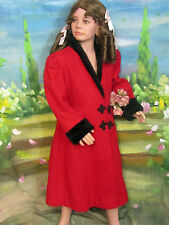 VINTAGE Rothschild CLASSIC red WOOL child's girl's COAT jacket Faux FUR collar 7