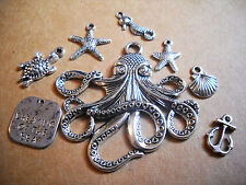 Assorted Charms Silver Pendants Nautical Charms Ocean Charms Mixed Silver Charms