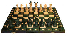 "AMBASSADOR - WOODEN CHESS SET - GREEN - 21"" FOLDING BOARD - 4 1/4"" KING"