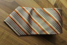 KR1093 Enrico Mori Krawatte 100% Seide Weiß Orange hellbalu Gelb gestreift 156cm