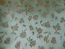Vintage Satin Roses Rosebud Brocade Fabric ~ Soft Icy Blue Pink