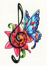 Temporary Tattoo, Einmal Tattoo  Bullseye BUFFG-07, Schmetterling auf Blume