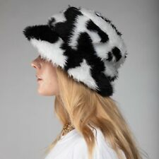 Black And White Cow Faux Fur Fluffy Bucket Hat - Handmade - Festival