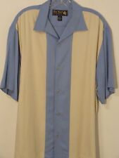 Nat Nast 100% Silk S/S Button Down Shirt Men Medium blue/Cream