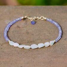 Natural Wello Opal and Tanzanite Bracelet Solid 14k Gold , 14th 24th Anniversary