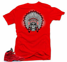 Shirt to match Nike Air Jordan Retro 5 Red Suede Sneakers.Chief  5  Red Tee