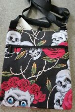 Skull and roses design Canvas Sling Bag - Black
