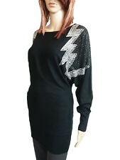 Womens Wool Cashmere Black Beads Embellish Knit Tunic Jumper Dress One sz AO50