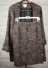 Lily Samii Womens Brown Tweed Skirt Open Front Blazer Vtg Suit Size 10 &  8