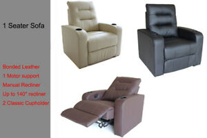 1 Seater Sofa Couch Lounge Manual Recline Chair Home Theater Flocking Leather