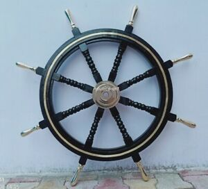 """36"""" Wood Ship Wheel Large Boat Steering Helm Wooden Nautical Captains Decor"""