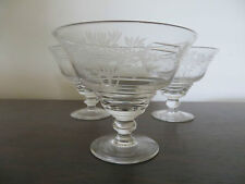 Set of Three STUART Crystal  Footed Sherbert or Dessert Glasses Rd 691649