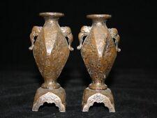 rare paire de vases en bronze Meiji