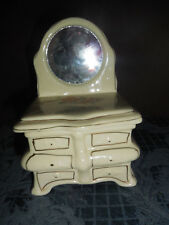 VINTAGE PORCELAIN TRINKET BOX DRESSER WITH MIRROR SHAPE ROSE DESIGN ON TOP EUC