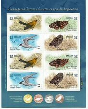 Canada Stamps -Booklet Pane of 8 -Endangered Species, Sky Creatures #2289b -MNH