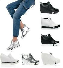 WOMENS LADIES SHOES WEDGE HIGH TOP BOOTS SNEAKERS TRAINERS SLIP ON white black