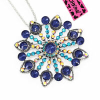 Betsey Johnson Blue Crystal Big Flower Pendant Chain Necklace/Brooch Pin Gift