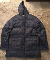 Vintage 1980's Mens Woolrich Blue Down Coat, Size XL