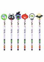 6 Halloween Pencils & Erasers - Pinata Toy Loot/Party Bag Fillers Childrens/Kids