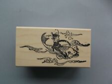 100 PROOF PRESS RUBBER STAMPS ELF RIDING A FISH NEW wood STAMP