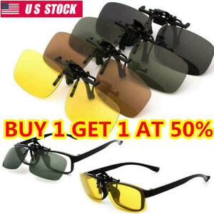 Flip Up Clip On Sunglasses Glasses Polarized Night Visions Eyewears Driving Lens
