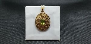 Gold over silver Peridot Pendant