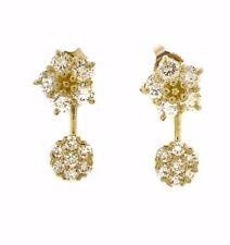 Mini Floret Diamante Amarillo Pendientes con verticales 18ct Oro Amarillo hm1845