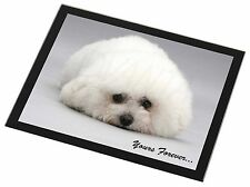 Bichon Frise Dog 'Yours Forever' Black Rim Glass Placemat Animal Table, AD-BF3GP