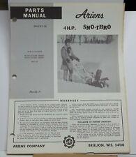 Vintage Ariens Parts Manual Model 4hp Sno Thro Manual Pm 22 71 Snow Blower