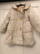 GIRLS AGE 4 YEARS CREAM WOVEN COAT WINTER/TOWIE/XMAS/PARTY/SCHOOL/PARTY/SMART