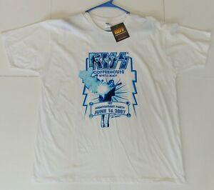 KISS Band Coffeehouse T-Shirt 1st Anniversary ACE FREHLEY Smoking Guitar UNWORN