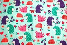 COLORFUL DESIGNED HEDGEHOGS & FLOWERS ON TURQUOISE FLEECE  MATERIAL 2 YDS 60x72""