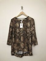 Womens Cable & Gauge Snake Print Top Shirt Size Medium 3/4 Sleeve Pullover Loung