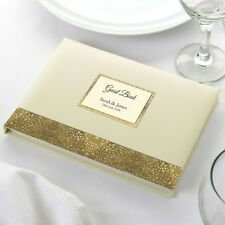 Personalised Wedding Guest Book Elegant Ivory Glitter Sparkle Border GuestBook