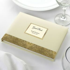 Personalised Wedding Birthday Party Guest Book Elegant Ivory Sparkle Border