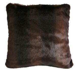 """Brown Bear Fur Pillow - Soft & Cozy Faux Fur - 18"""" x 18"""" - Free Shpg - Lodge"""