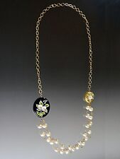 Pearls With Venetian Glass Handpainted Flowers Sale - Bess Heitner Wire Wrapped