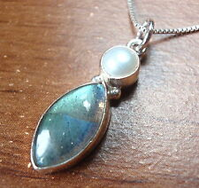 Labradorite Pearl Necklace 925 Sterling Silver Marquise Round Dbl Gemstones #82t