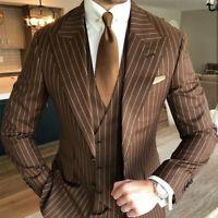 Brown Pinstripe Wedding Tuxedos Peaked Lapel Groom Wear Formal Business Men Suit