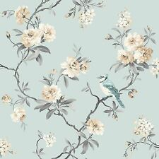 CHINOISERIE BIRD WALLPAPER - DUCK EGG BLUE - FINE DECOR FD40765 FLORAL