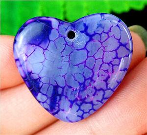 26x24x4mm Purple Dragon Veins Agate Love Heart Pendant Bead BV58627