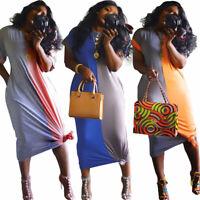 Fashion Women Summer Short Sleeve Colors Block Patchwork Casual Loose Long Dress