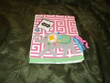 "Mud Pie Baby Girl  Pink Elephant Safari Burp Cloth 17"" x 11"" NEW"