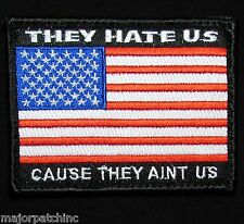 They Hate Us Ain'T Us American Usa Flag Army Morale Tactical Color Hook Patch