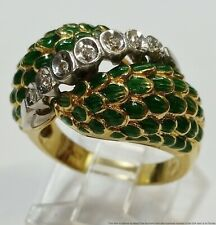 Vintage 18k Gold Diamond Platinum Enamel Ladies Ring Size 6
