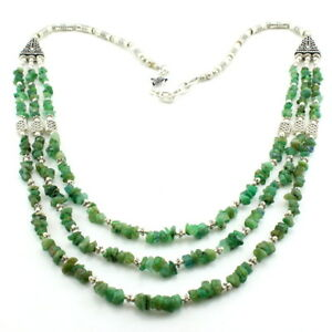 Necklace natural emerald gemstone beaded handmade chips jewelry 70 grams